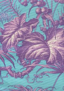 306273FLC TROPIQUE MULTI BLOTCH Multi Purple Turquoise on cotton/linen Quadrille Fabric