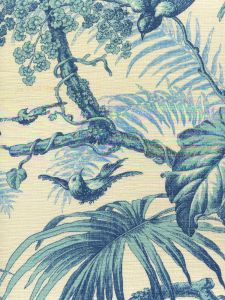 306195F TROPIQUE Multi Blues on Tint Quadrille Fabric
