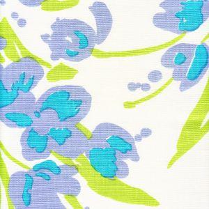020071M TULIP MULTICOLOR Lilac Turquoise Green on White Quadrille Fabric