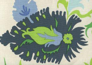 306222W UZBEK Multi Blues Greens Royal On Almost White Quadrille Wallpaper