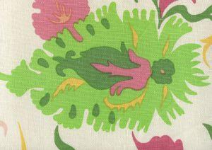 306221F UZBEK Multi Yellow Green Pinks Quadrille Fabric