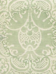 302200B-04 VENETO NEUTRAL Soft French Green on Tint Quadrille Fabric