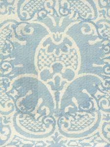302200B-03 VENETO NEUTRAL Soft Windsor Blue on Tint Quadrille Fabric