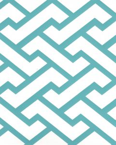 6340-07WP AGA Turquoise On Almost White Quadrille Wallpaper