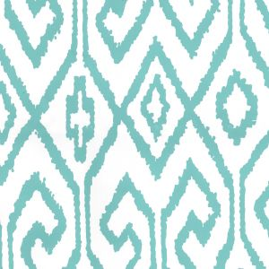 7240-04WP AQUA IV Turquoise On White Quadrille Wallpaper