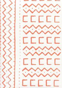 AP980-06 BEAU RIVAGE Orange On White Quadrille Wallpaper