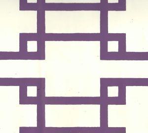 300407OWP BRIGHTON Purple On Off White Quadrille Wallpaper