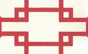 300406OWP BRIGHTON Red On Off White Quadrille Wallpaper