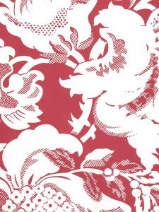 306589W DES GARDES REVERSE Burgundy On Off White Quadrille Wallpaper