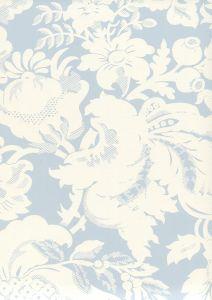306581W DES GARDES REVERSE Soft Windsor Blue On Off White Quadrille Wallpaper