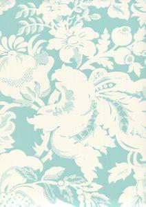 306585W DES GARDES REVERSE Turquoise On Off White Quadrille Wallpaper