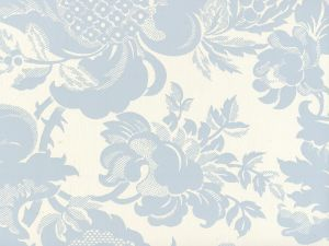 306081W DES GARDES Soft Windsor Blue On Off White Quadrille Wallpaper