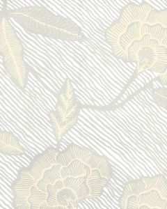 4060M-10WP FLORES II Gray Cream On White Quadrille Wallpaper