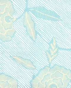 4060M-01WP FLORES II New Blue Cream On White Quadrille Wallpaper