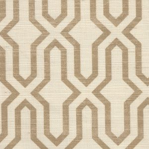 6300R-CAMEL GORRIVAN FRETWORK Camel On Beige Grasscloth Quadrille Wallpaper