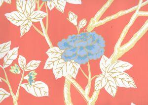 306063W HAPPY GARDEN Rust Orange On White Quadrille Wallpaper