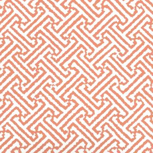 6890WP-13 JAVA JAVA Salmon Orange On White Quadrille Wallpaper