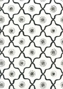 306320W-09WWP LONGFELLOW Black,Grey On White Quadrille Wallpaper