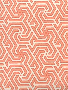 2520-05OWP MAZE REVERSE TWO COLORS Light Orange New Shrimp Quadrille Wallpaper