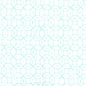 6450-12WP MELONG BATIK Turquoise On White Quadrille Wallpaper
