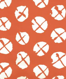 6655WP-06 OBI II REVERSE Orange On Almost White Quadrille Wallpaper
