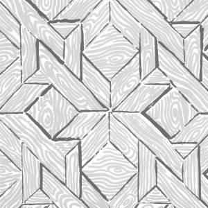 6280-05WP PARQUETRY Gray Silver On Almost White Quadrille Wallpaper