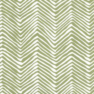 AP303-32W PETITE ZIG ZAG Jungle Green On White Quadrille Wallpaper