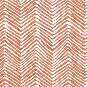 AP303-06PV PETITE ZIG ZAG New Shrimp On White Vinyl Quadrille Wallpaper