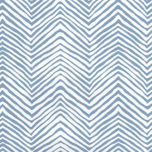 AP303-09PV PETITE ZIG ZAG Slate Blue On White Vinyl Quadrille Wallpaper