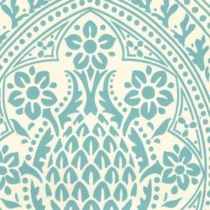 302133W PINA Pina Dark Turquoise On Off White Quadrille Wallpaper