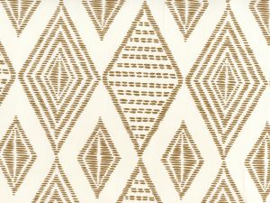 AP850-14 SAFARI EMBROIDERY Caramel On Almost White Quadrille Wallpaper