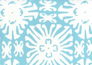 2485WP-01 SIGOURNEY REVERSE SMALL SCALE Turquoise On White Quadrille Wallpaper