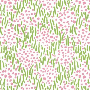 3030-11WP TRILBY Jungle Green Pink On White Quadrille Wallpaper