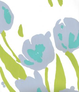 020071WP TULIP MULTICOLOR Lilac Turquoise Green On White Quadrille Wallpaper