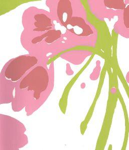 020070WP TULIP MULTICOLOR Multi Pink Green On White Quadrille Wallpaper