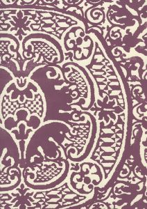 352000W-26OWP VENETO Plum On Off White Quadrille Wallpaper