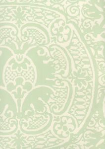 352000W-24OWP VENETO Soft French Green On Off White Quadrille Wallpaper
