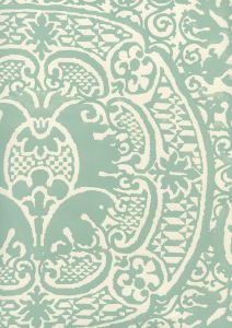 352000W-09OWP VENETO Teal On Off White Quadrille Wallpaper