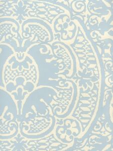 352000W-23OWP VENETO Windsor Blue On Off White Quadrille Wallpaper