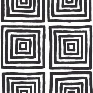 6170-25WP ZIGGURAT Black On White Quadrille Wallpaper