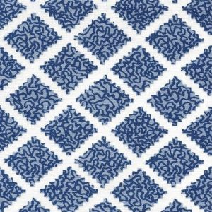 JF01000-11 SHANGHAI Navy Windsor on White Quadrille Fabric