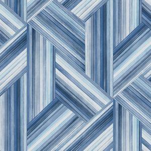 LW50102 Geo Inlay Denim and Sky Blue Seabrook Wallpaper