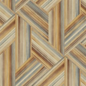 LW50106 Geo Inlay Saddle Brown and Steel Seabrook Wallpaper