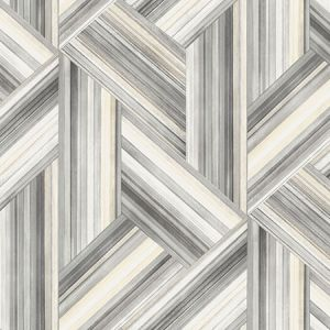 LW50108 Geo Inlay Cove Gray and Carrara Seabrook Wallpaper