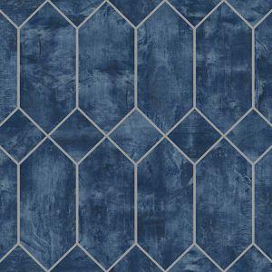 LW51602 Geo Faux Denim Blue and Metallic Silver Seabrook Wallpaper