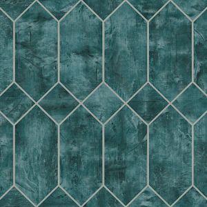 LW51604 Geo Faux Emerald and Metallic Silver Seabrook Wallpaper