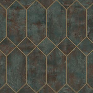 LW51606 Geo Faux Rust, Forest Green, and Metallic Gold Seabrook Wallpaper