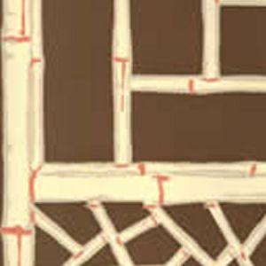 6020W-01 LYFORD TRELLIS Brown Cream Beige Terracotta Quadrille Wallpaper