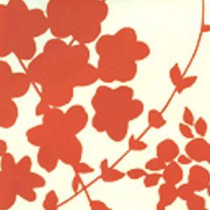 4100-04WP LYSETTE Orange On Off White Quadrille Wallpaper