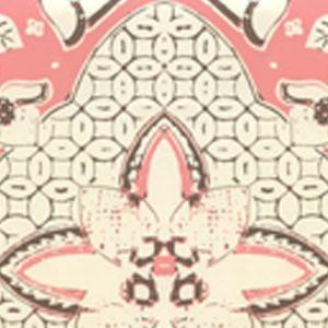 6430-09WP NEW BATIK Salmon Brown On Off White Quadrille Wallpaper